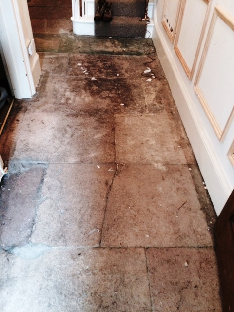 Sandstone Floor Grange Over Sands Before Cleaning