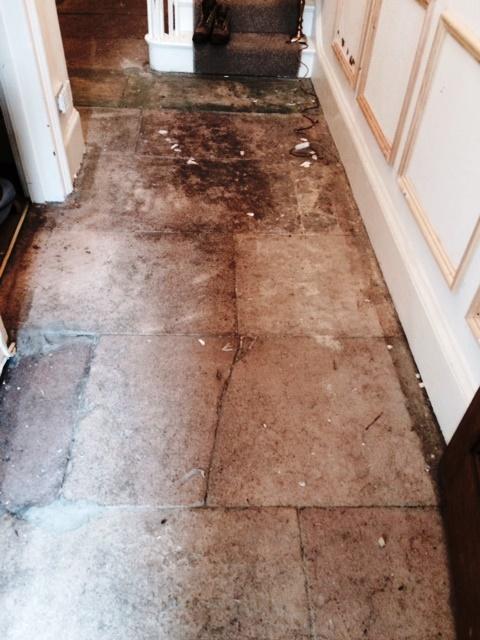 Sandstone Floor Grange Over Sands Before Cleaning