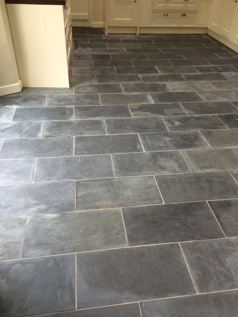 Varnished Brazilian Slate Tiles Before Cleaning