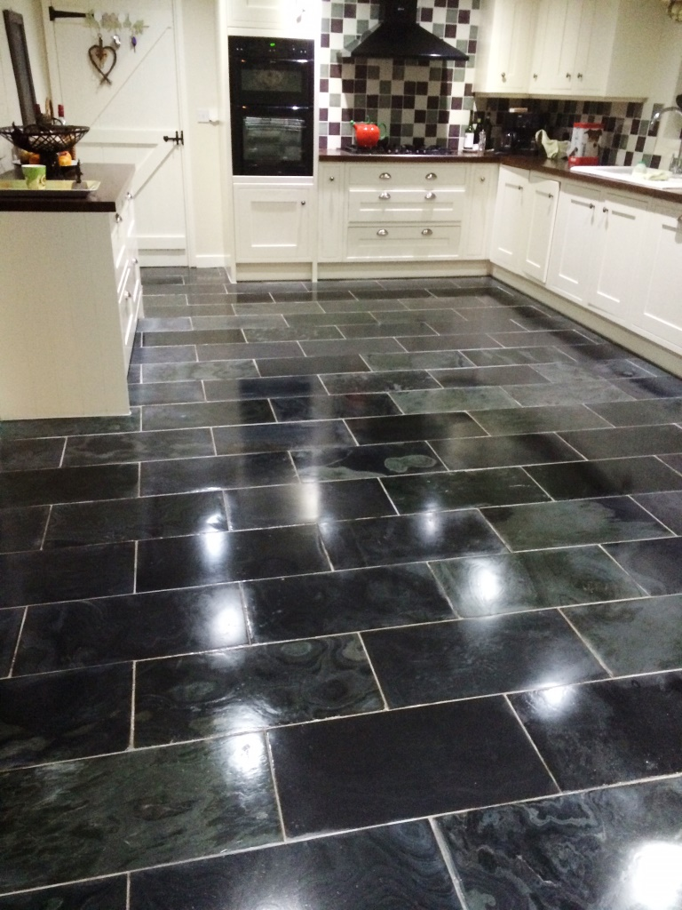 Varnished Brazilian Slate Tiles Finished