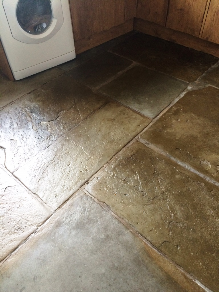 Flagstone Tiled Floor After Cleaning and Sealing in Ambleside