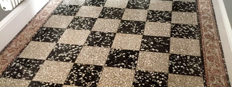 Black and White Terrazzo Tiled Floor Refinished in Windermere