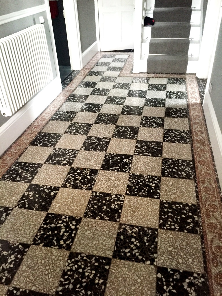 Black and White Terrazzo Tiles After Cleaning Windermere