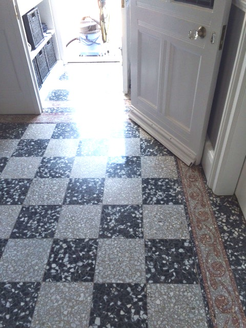 Black and White Terrazzo Tiles Before Cleaning Windermere
