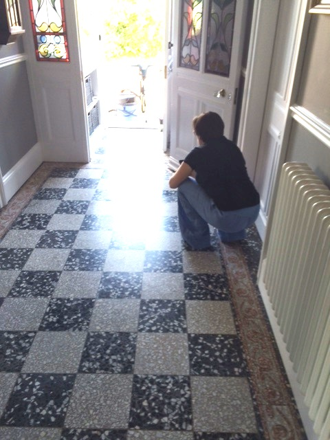 Re Sealing A Terrazzo Floor Stone Cleaning And Polishing
