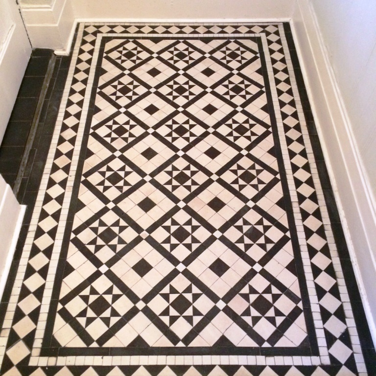 Victorian Black and White Tiles after cleaning and sealing Windermere