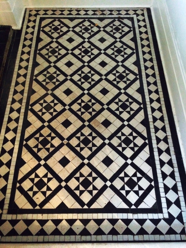 Victorian Black and White Tiles before cleaning and sealing Windermere