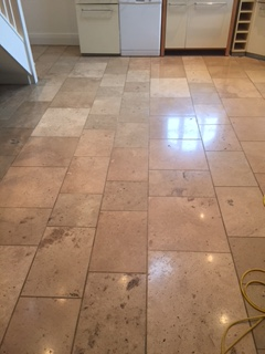 Travertine Tiled Floor Burnished and Sealed in Kirkby Lonsdale