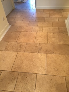 Travertine Tiled Flooring Before Cleaning Kirby Lonsdale