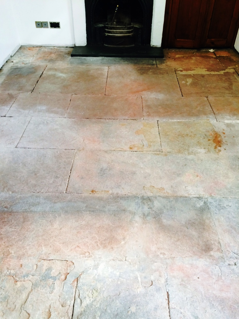 Red Sandstone Floor before cleaning in Kirby Lonsdale