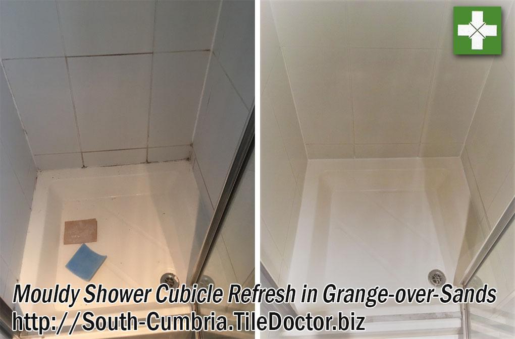 Mouldy Tile Grout Refreshed in Grange-over-Sands Shower Cubicle