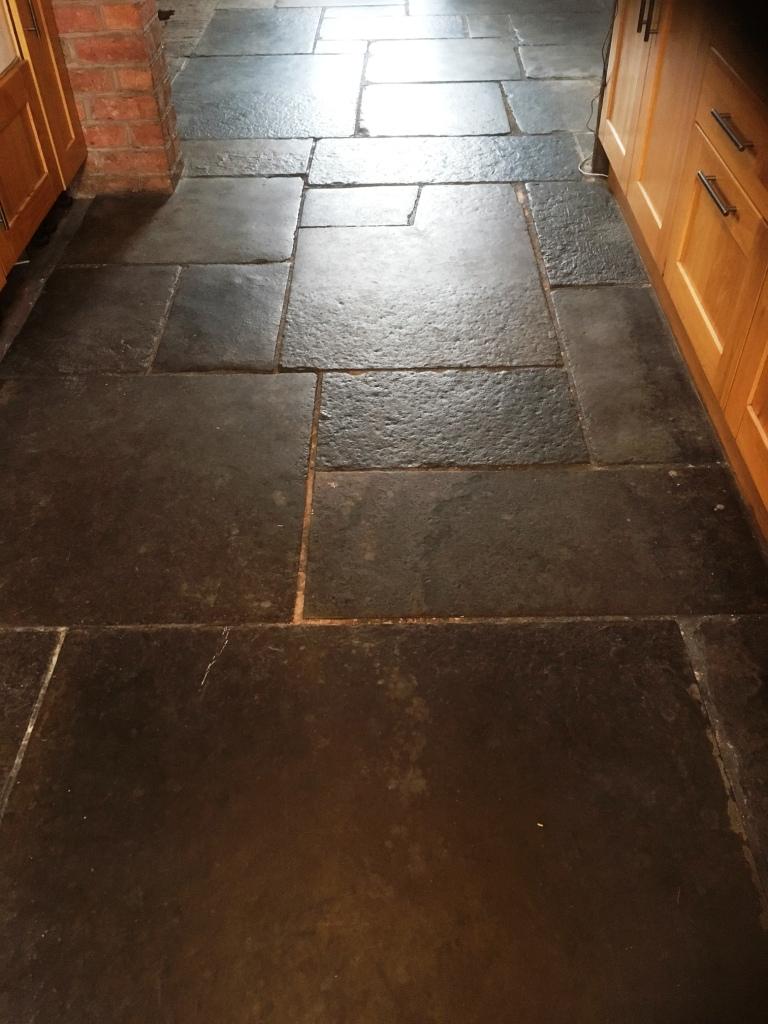 Flagstone Floor Grange Over Sands Before Cleaning