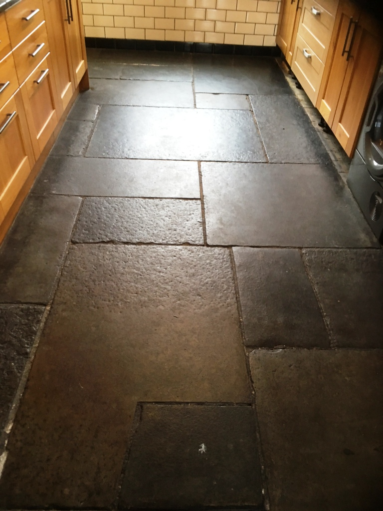 Flagstone Floor Grange Over Sands Before Cleaning