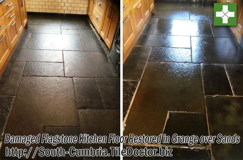 Flagstone Kitchen Floor Before and After Restoration Grange-over-Sands
