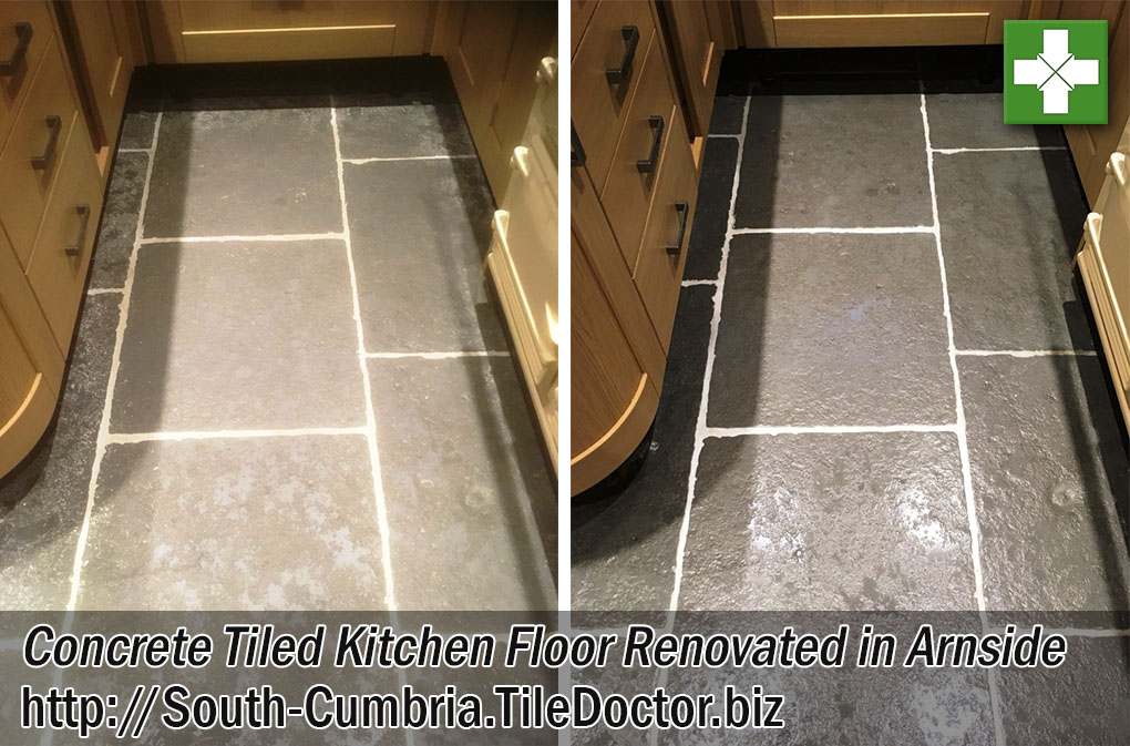 Stone Effect Concrete Kitchen Floor Before and After Cleaning in Arnside