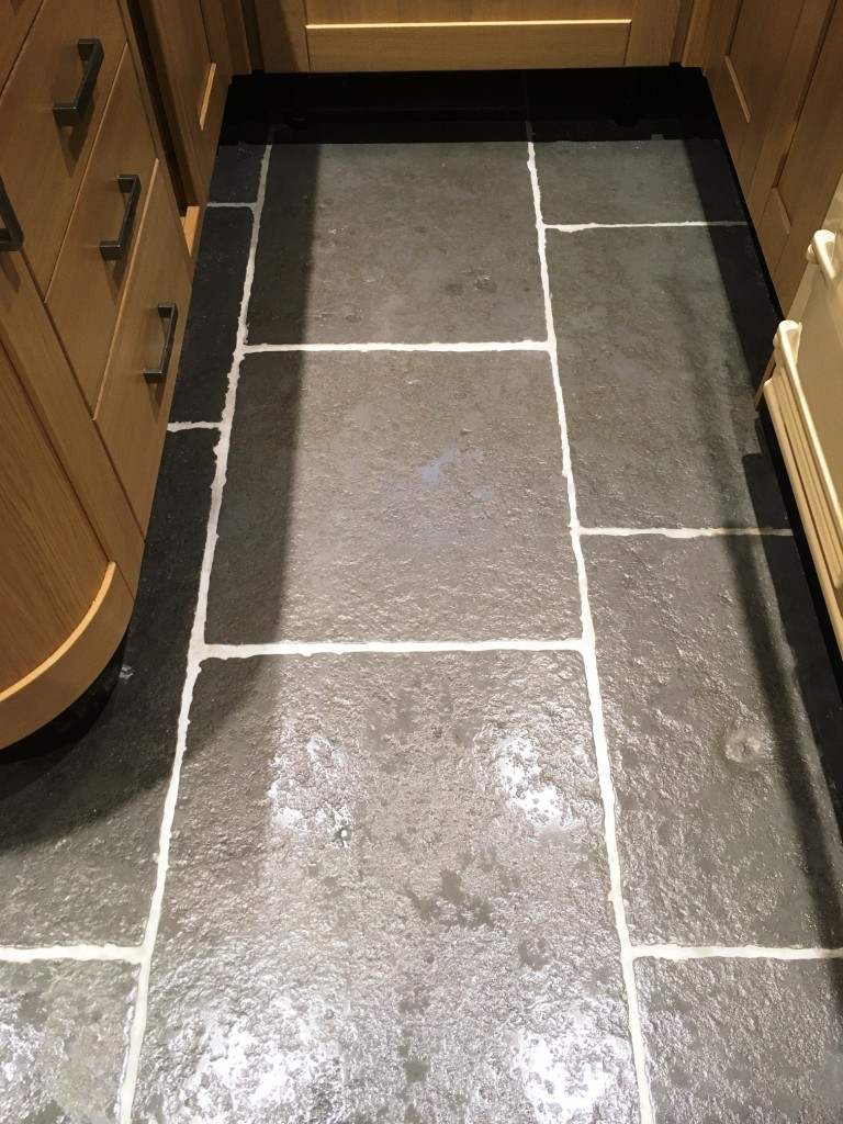 Stone Effect Concrete Kitchen Flooring Before Cleaning Arnside