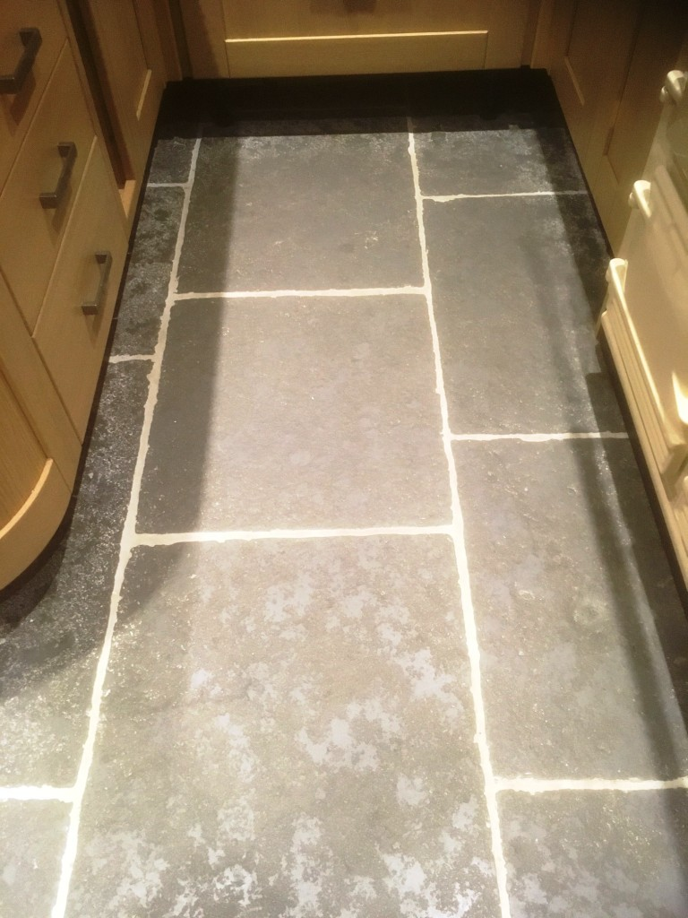 Stone effect pre cast concrete kitchen flooring deep cleaned in stone effect concrete kitchen flooring before cleaning arnside dailygadgetfo Image collections