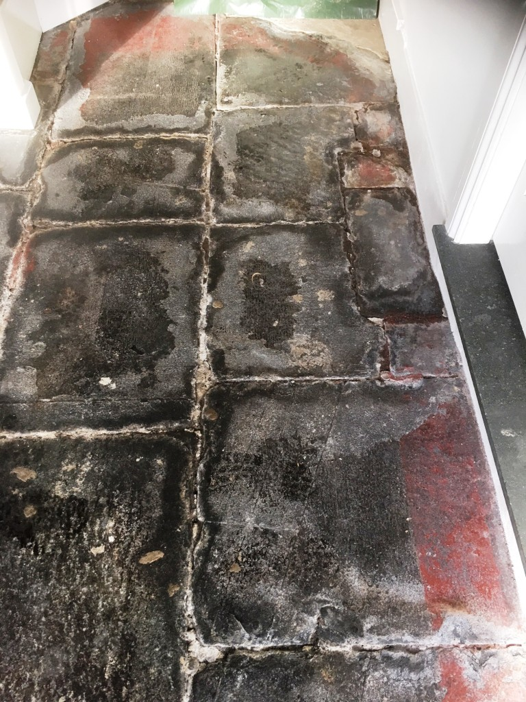 Slate Flagstone Floor Before Milling in Hawkshead Cumbria
