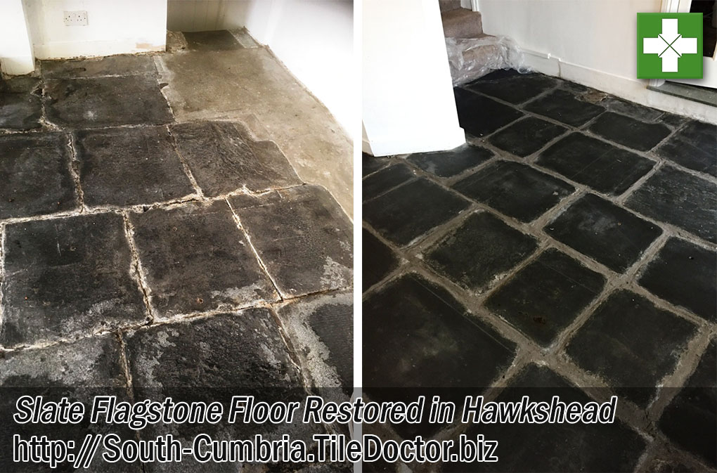 Slate Flagstone Floor Before and After Restoration in Hawkshead