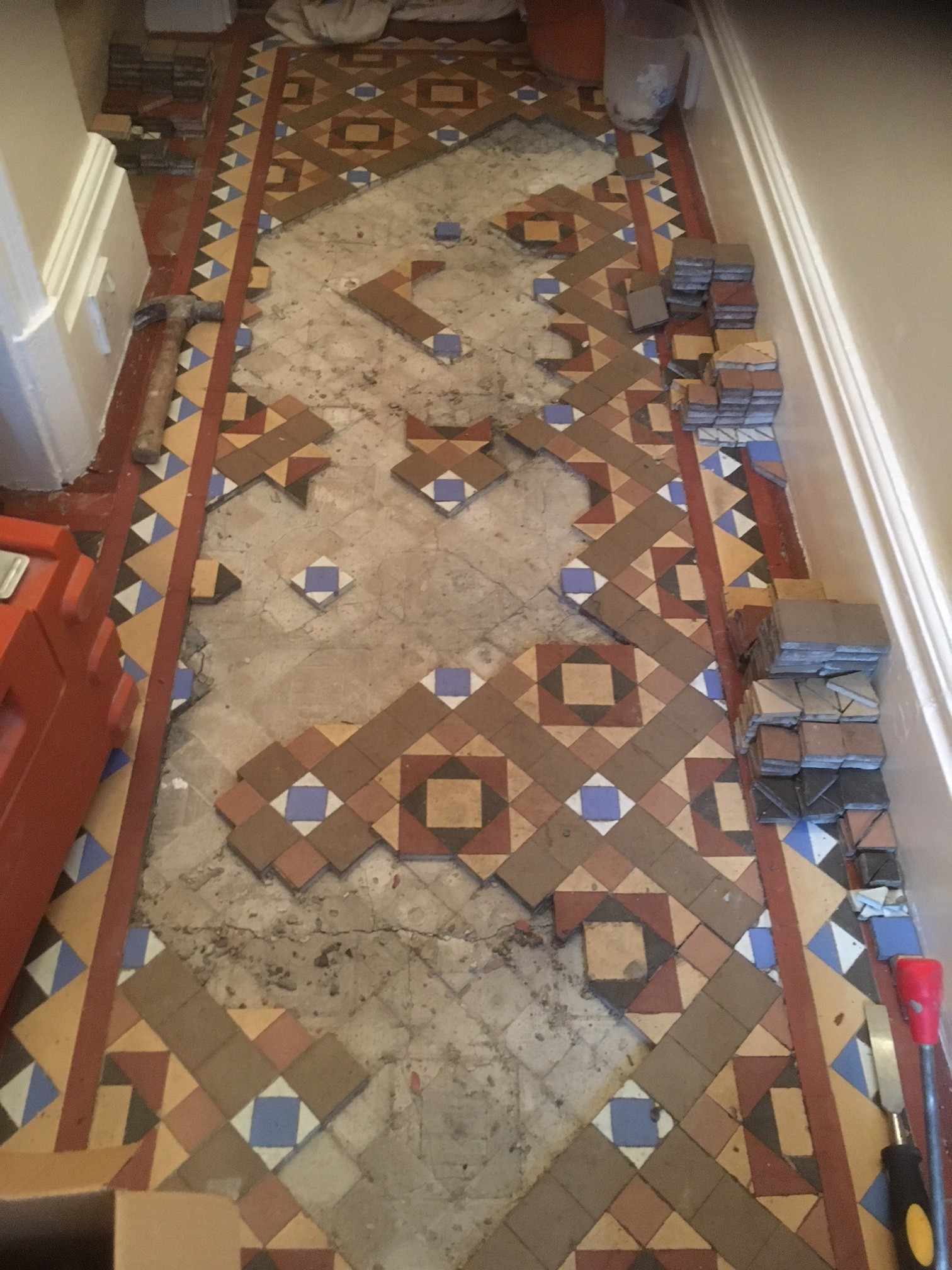 Victorian Tiled Hallway Being Relaid in Kendal