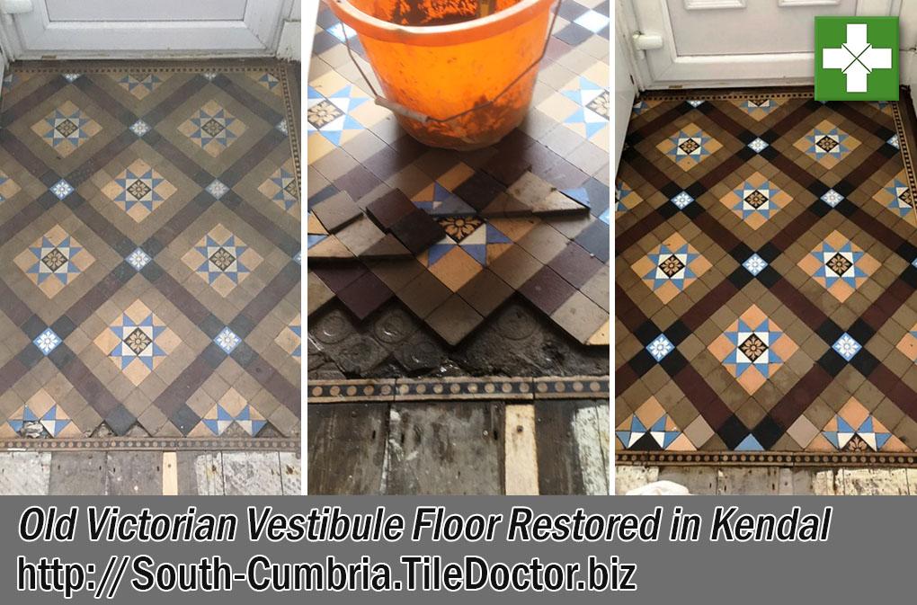 Old Victorian Tiled Vestibule Floor Before and After Restoration Kendal