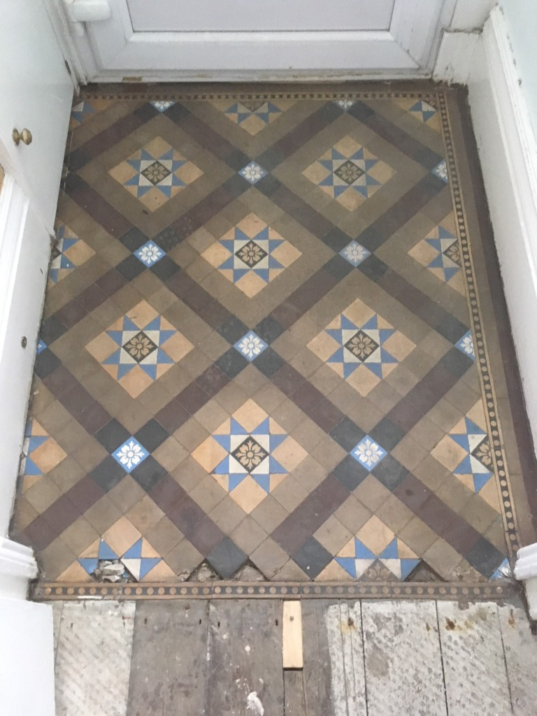 Small Victorian Tiled Vestibule Before Cleaning Kendal