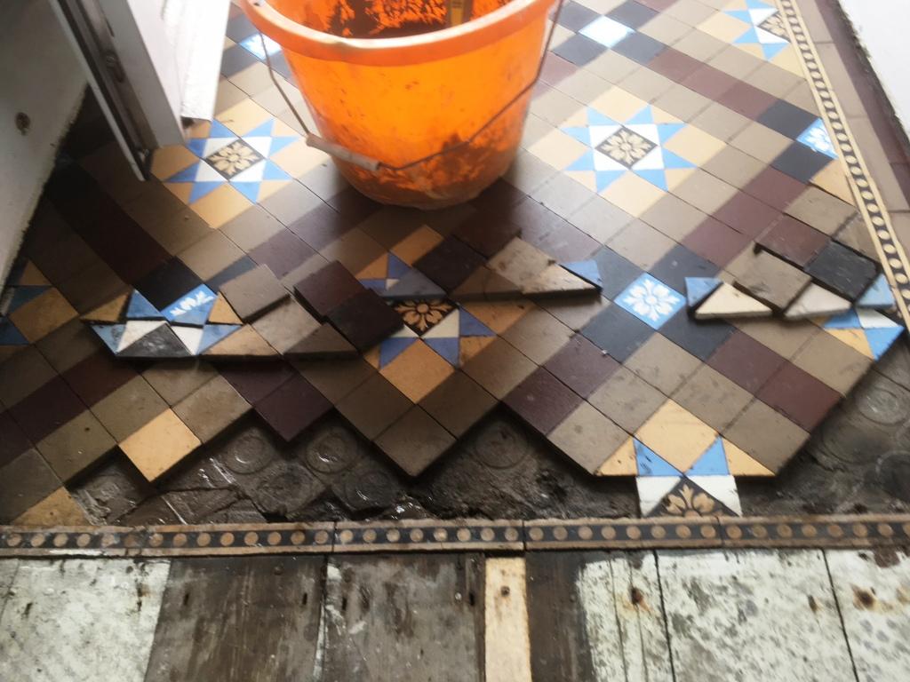 Small Victorian Tiled Vestibule During Repair Kendal