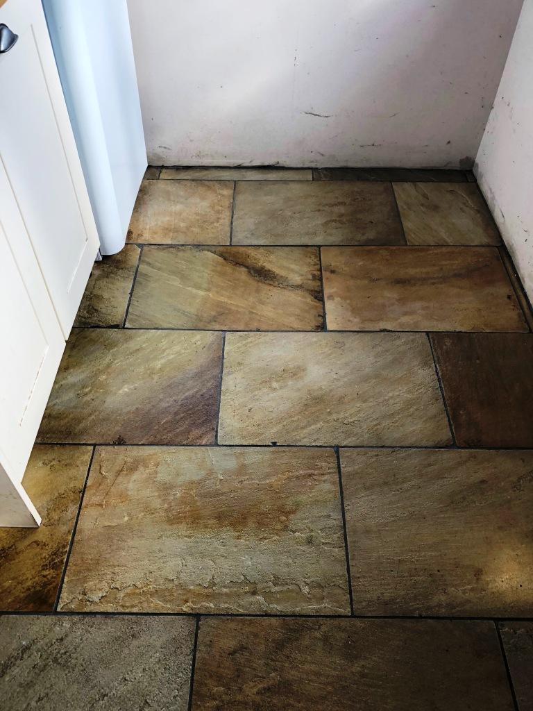 Indian Sandstone Kitchen Floor After Cleaning Grange-Over-Sands