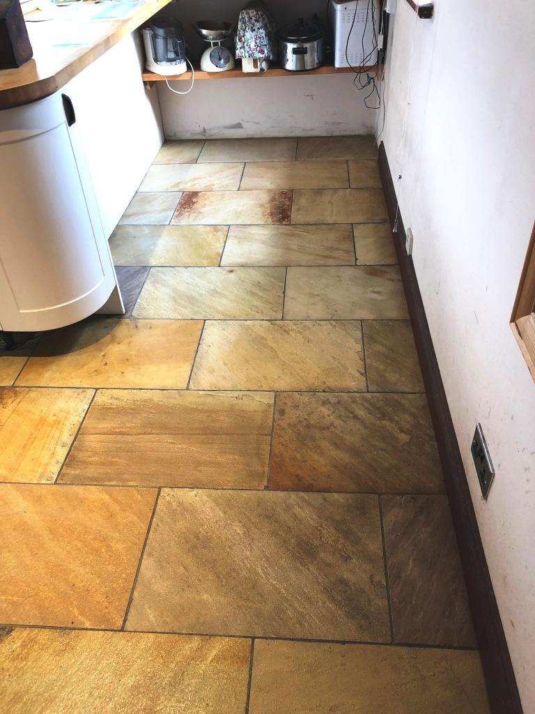 Indian Sandstone Kitchen Floor After Cleaning Grange-Over-Sands