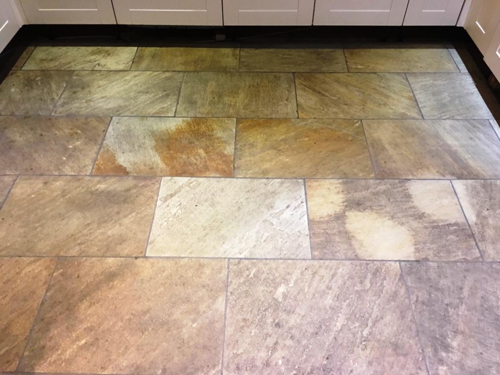 Indian Sandstone Kitchen Floor Before Cleaning Grange Over Sands