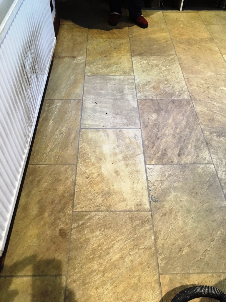 Indian Sandstone Kitchen Floor Before Cleaning Grange-Over-Sands