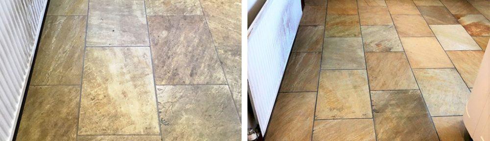 Indian Sandstone Tiled Kitchen Floor Renovation Grange-Over-Sands Cumbria