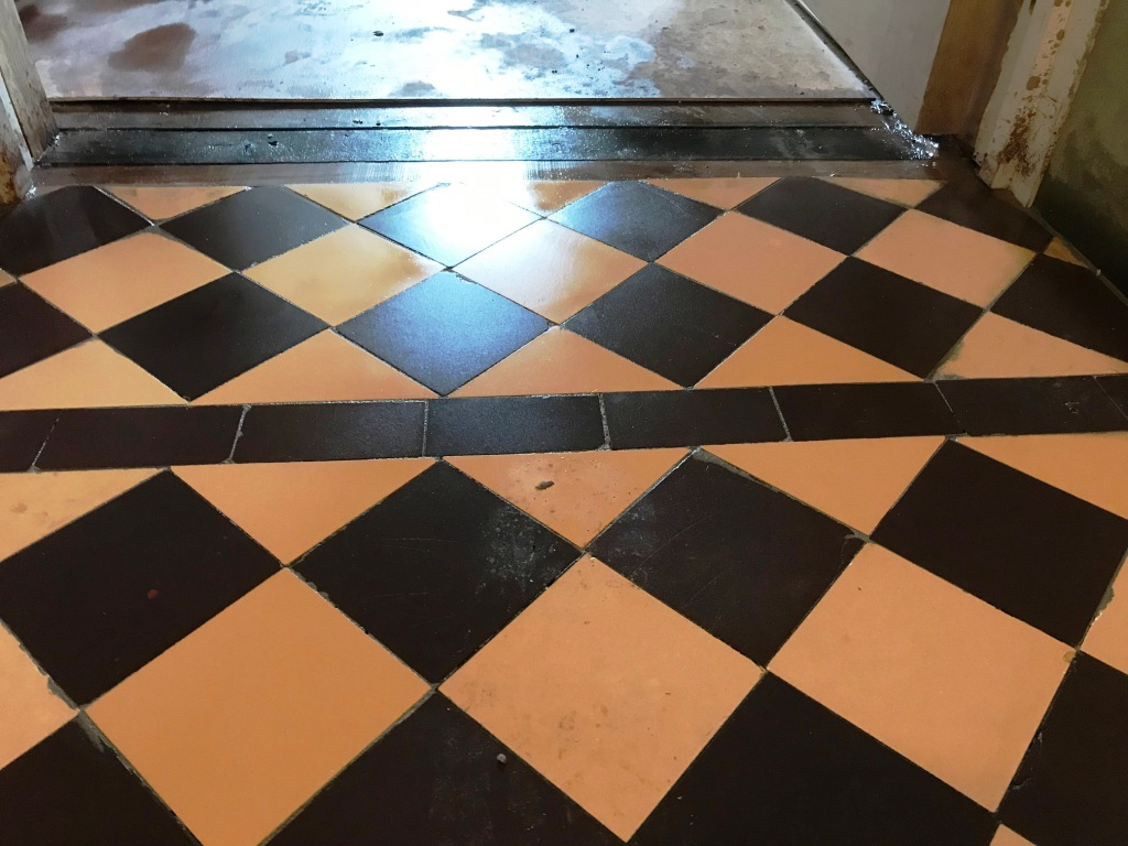 Cream Black Victorian Hallway Floor Tiles After Restoration Ulverston