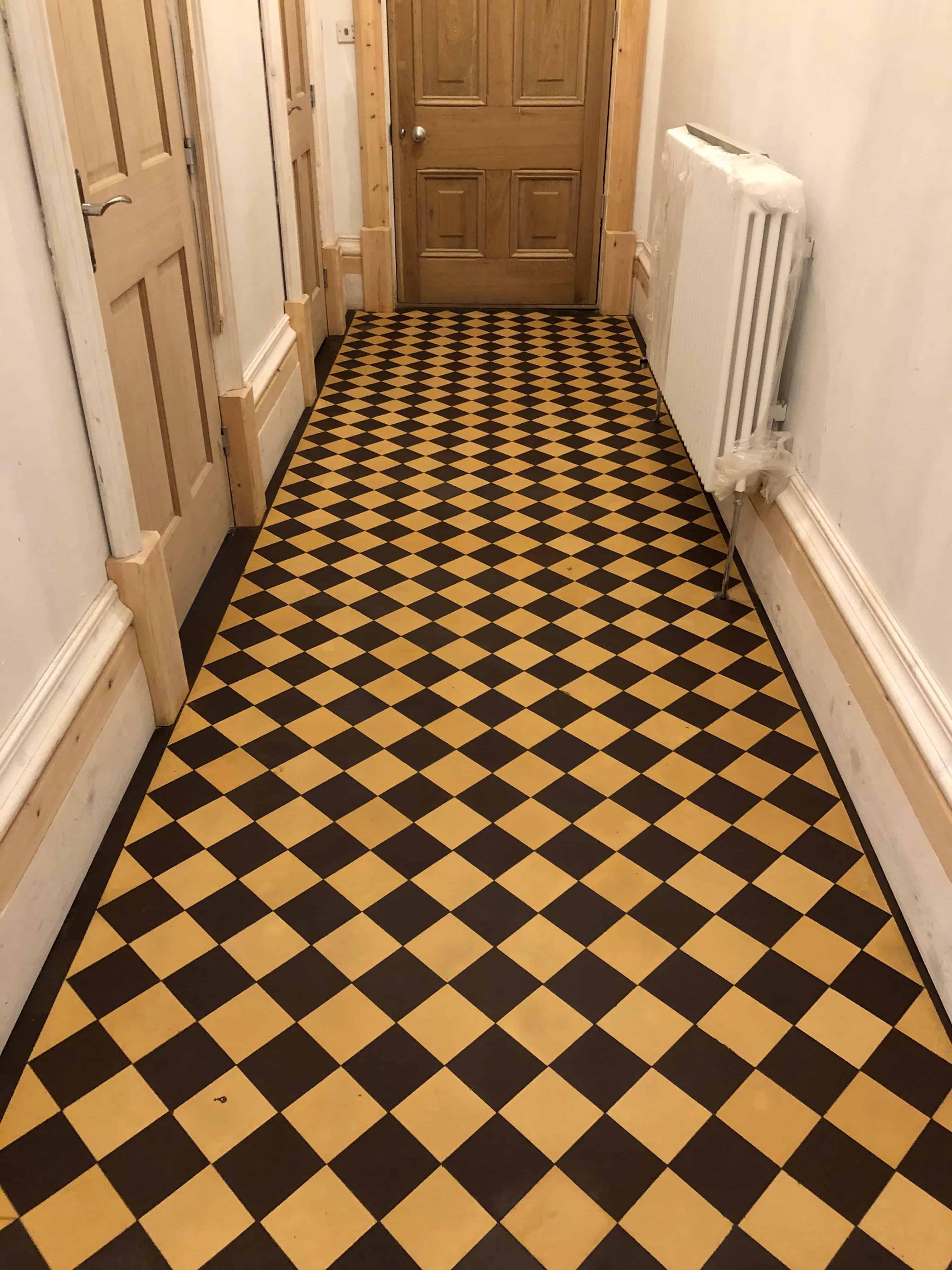 Cream Black Victorian Hallway Floor Tiles After Restoration Ulverston