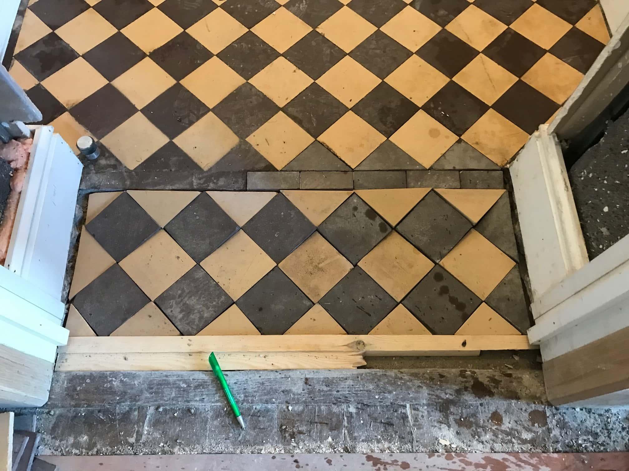 Cream Black Victorian Hallway Floor Tiles Before Restoration Ulverston