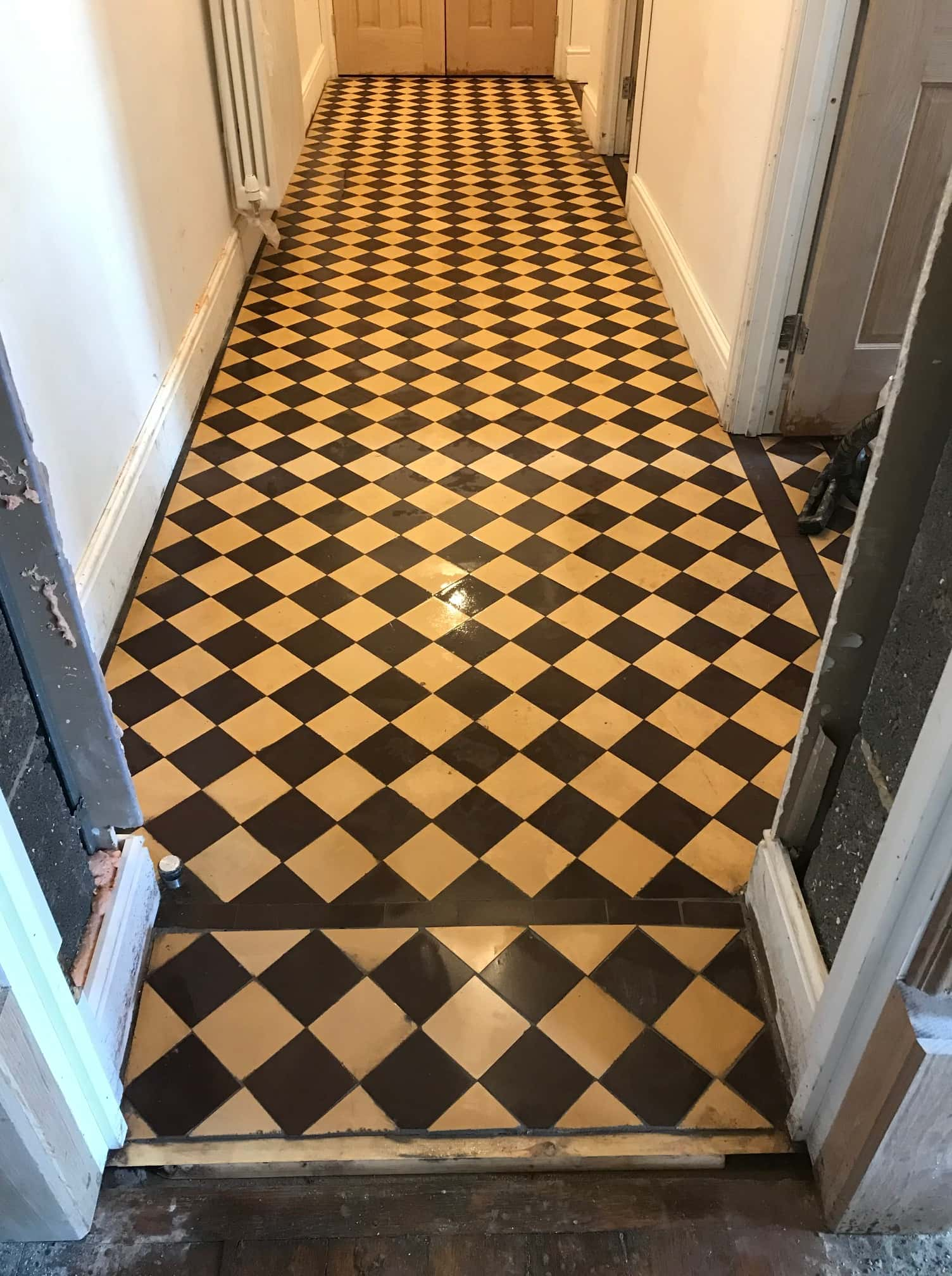Cream Black Victorian Hallway Floor Tiles Before Restoration Ulverston