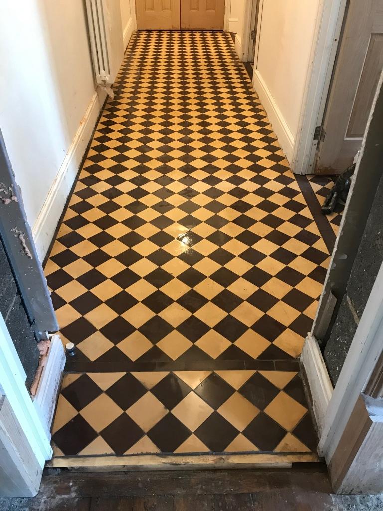 Cream Black Victorian Hallway Floor Tiles During Restoration Ulverston