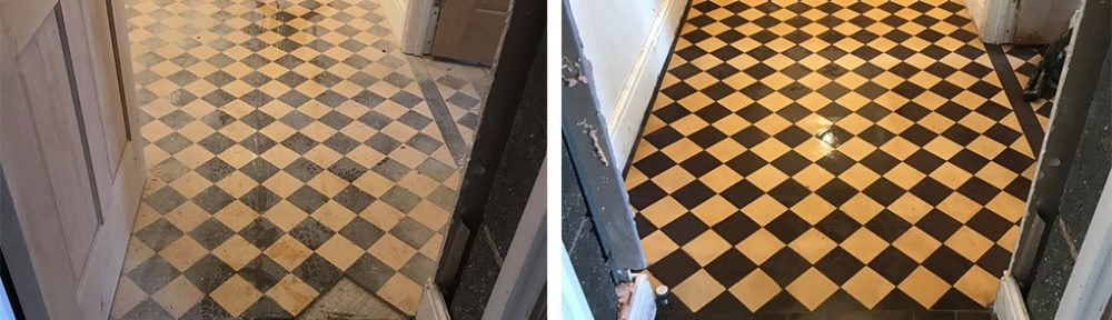 Cream and Black Victorian Hallway Floor Restoration in Ulverston
