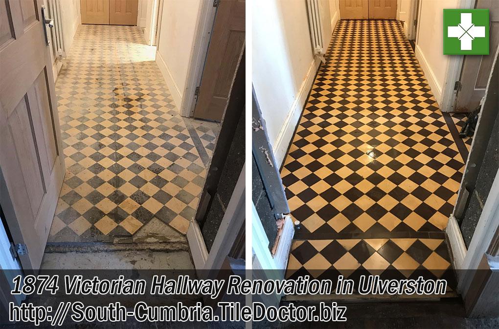 Victorian Tiled Hallway Before After Restoration Ulverston