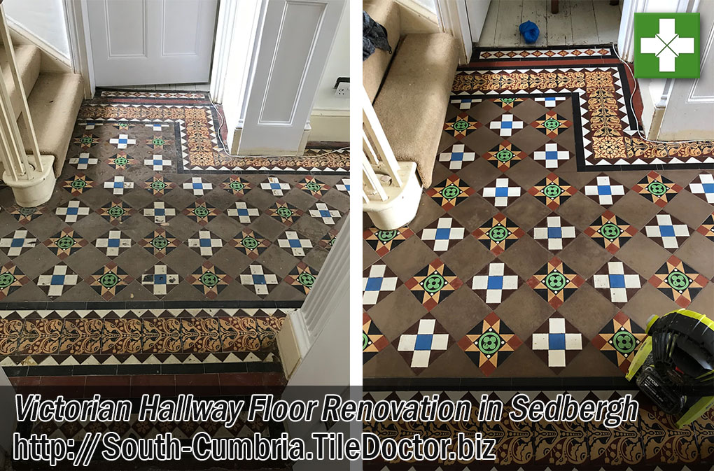 Geometric Victorian Hallway Tiled Floor Before After Renovation Sedbergh