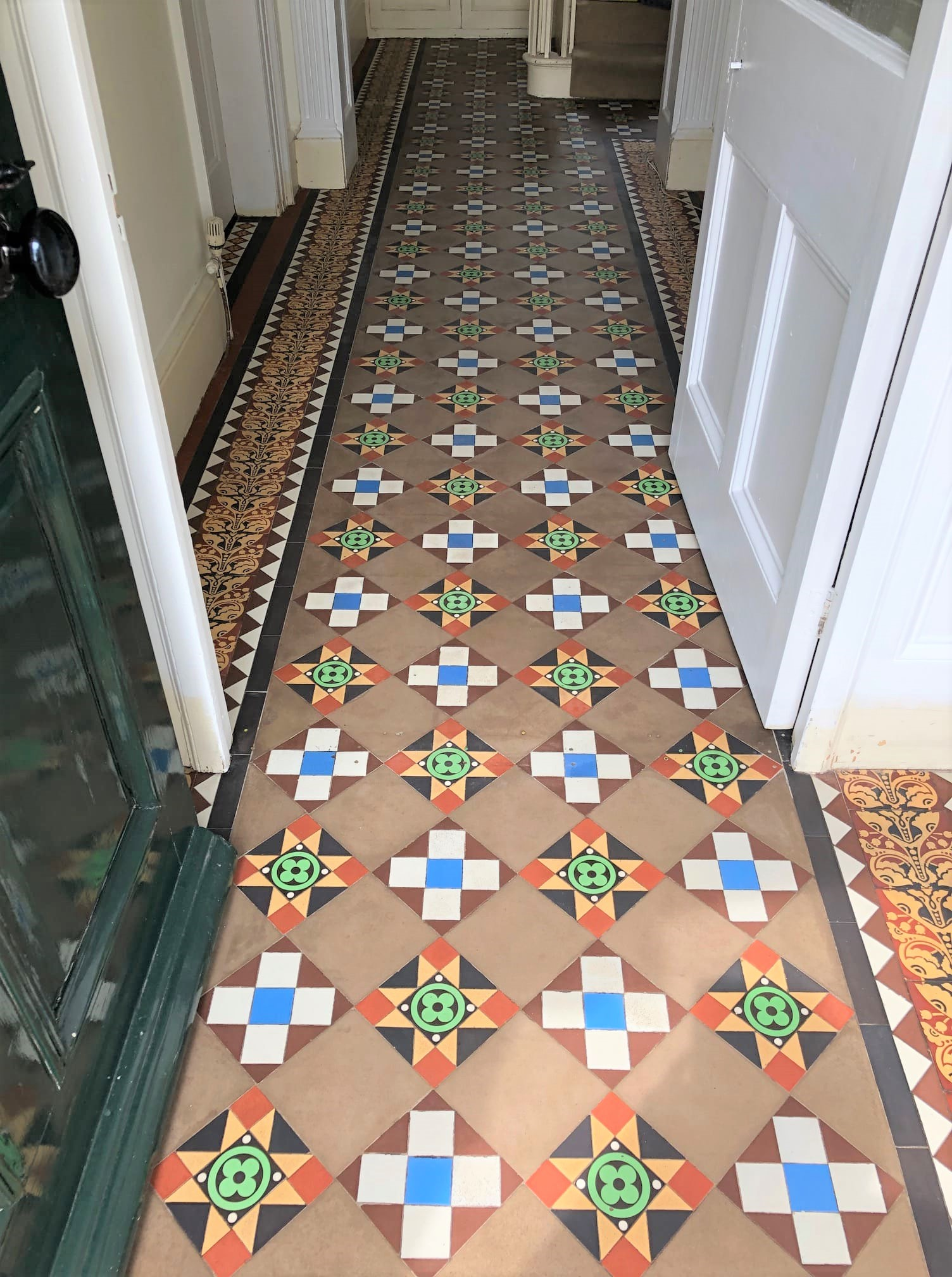 Geometric Victorian Tiled Hallway After Cleaning Sedbergh