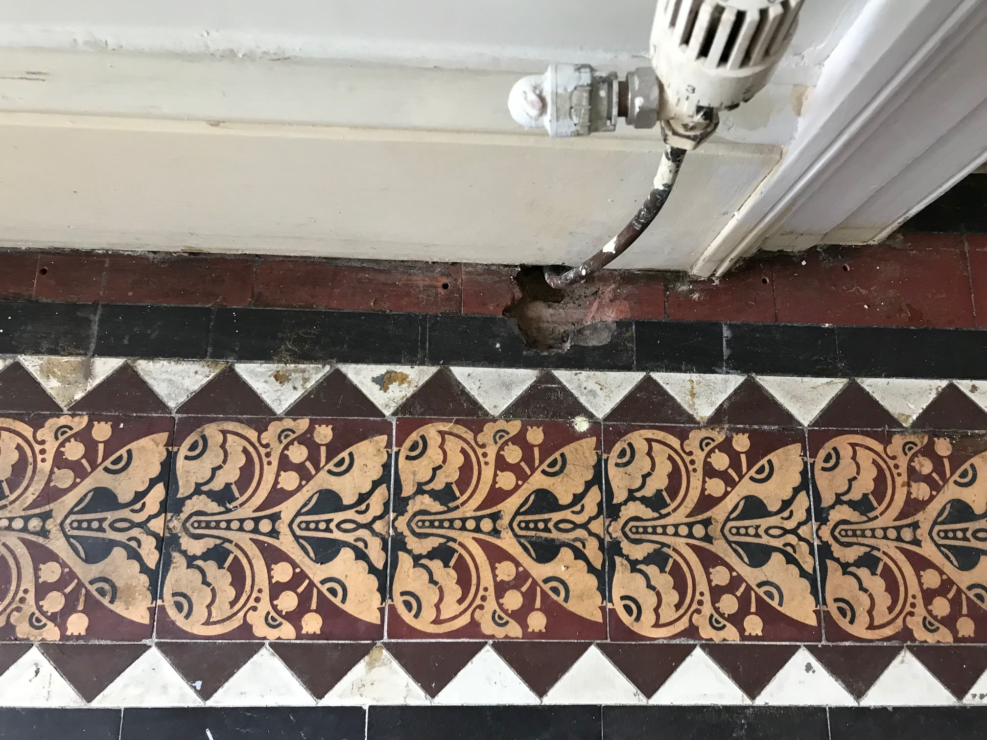 Geometric Victorian Tiled Hallway Before Cleaning Sedbergh