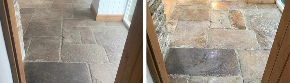 Sandstone Floor Before After Clean Seal Windermere