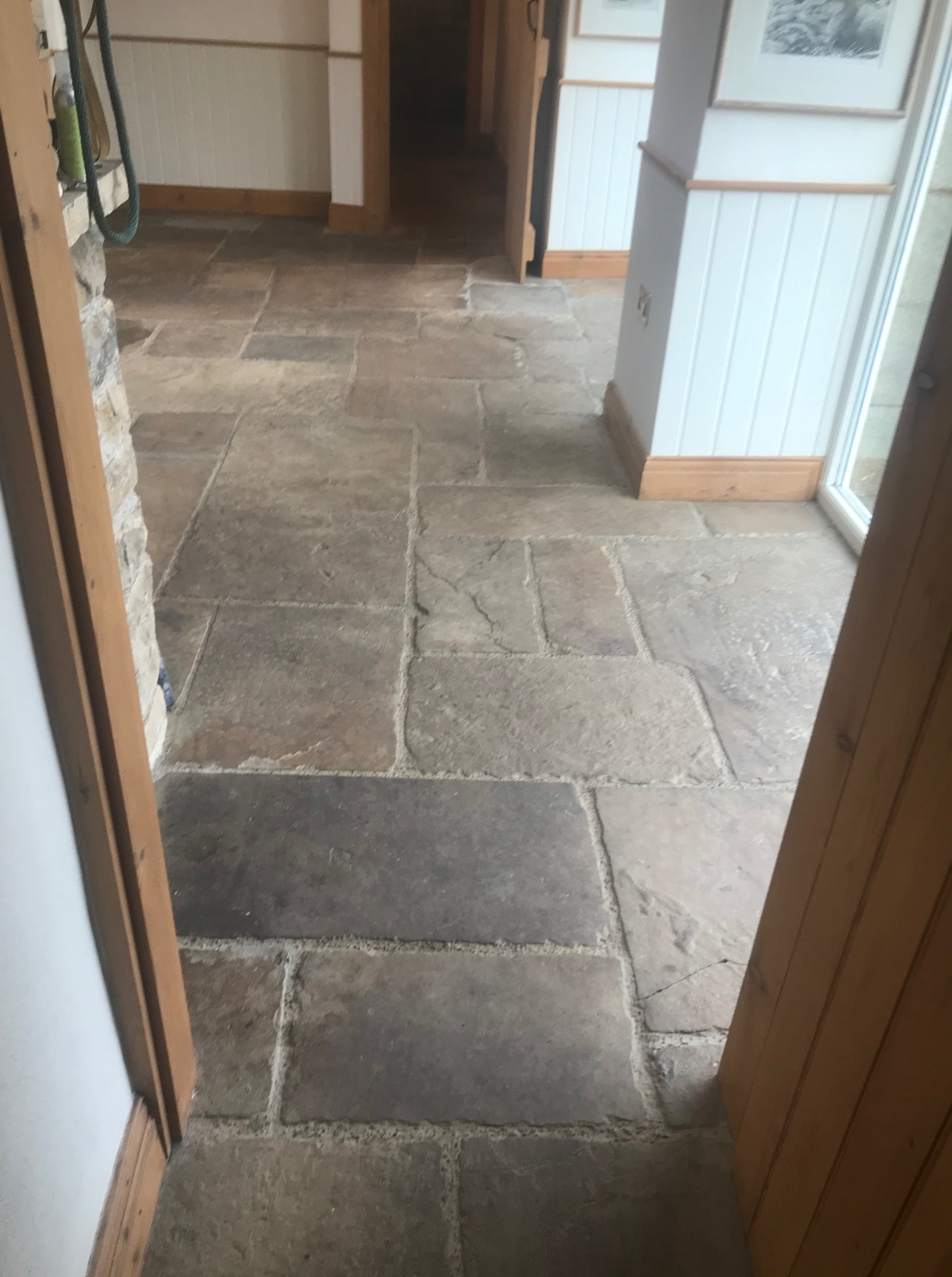 Sandstone Floor Before Clean Seal Windermere