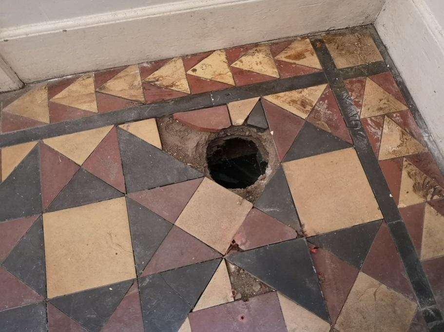 Victorian Tiled Entrance Floor Before Rebuild Prizet Kendal