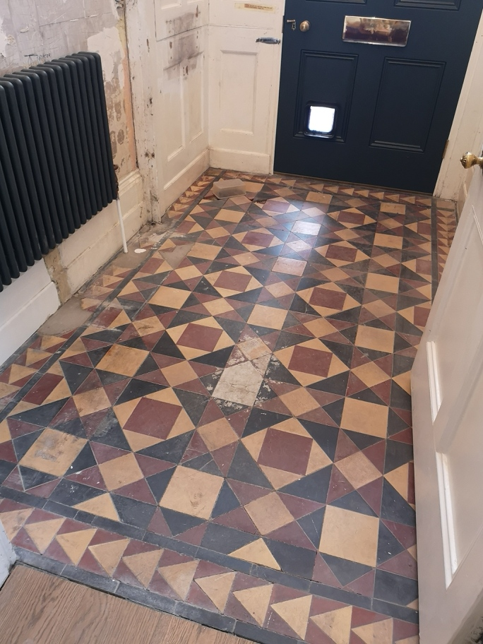 Victorian Tiled Entrance Floor Before Rebuild Prizet Kendal