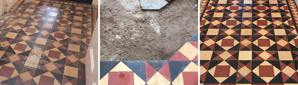 Victorian Tiled Entrance Floor Before and After Restoration in Prizet Kendal