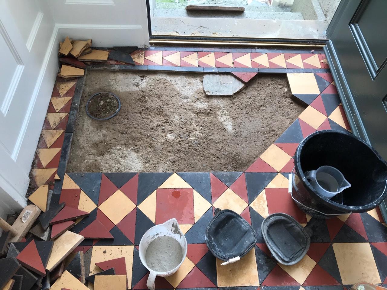 Victorian Tiled Entrance Floor During Rebuild Prizet Kendal