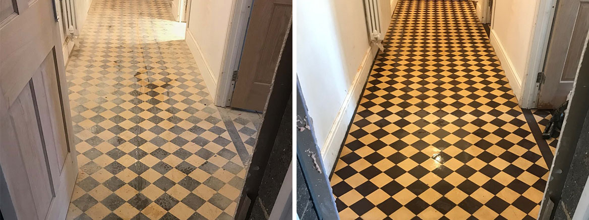 Cream-Black-Victorian-Hallway-Floor-Tiles-Before-After-Restoration-Ulverston