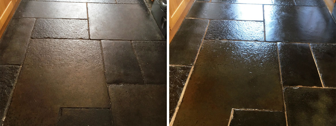 Damaged Flagstone Tiled Floor Deep Cleaned and Sealed in Grange-over-Sands
